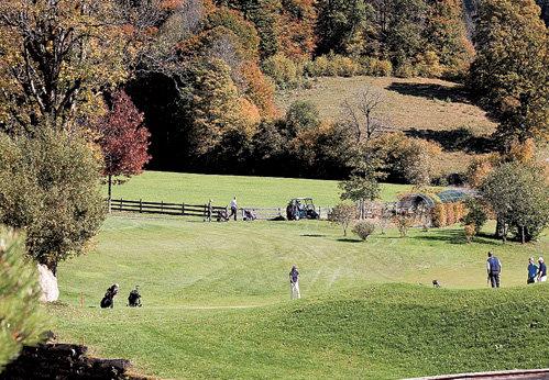 Богатые постояльцы отеля с удовольствием играют в гольф