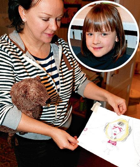 Дочка Маша (в круге) нарисовала маму, звезду фильма «Формула любви», вернувшуюся домой после пластической операции