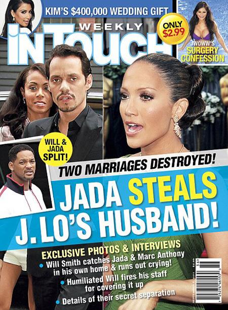 Журнал InTouch напечатал новые подробности семейной драмы Уилла СМИТА - якобы тот застал свою жену с мужем Дженнифер ЛОПЕС в собственном доме