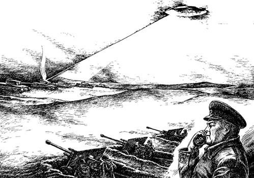 По словам очевидцев, НЛО сжёг лучом десяток немецких танков. Рис. Валерия СПИРИДОНОВА
