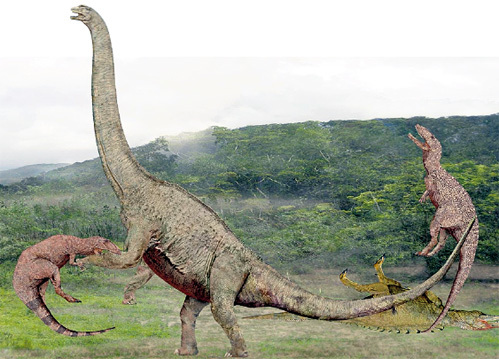 Эта реконструкция - плод воображения учёных. Скорее всего, тираннозавры жили в воде и никогда не выходили на сушу, где их раздавил бы собственный вес