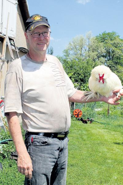 Штефан со своим любимцем породы султанка - они отличаются роскошным хохолком и расклешёнными «штанами»