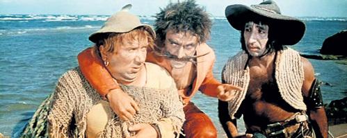 МКРТЧЯН (справа) на съёмках фильма «Айболит-66» с «разбойниками» - Алексеем СМИРНОВЫМ (слева) и  Роланом БЫКОВЫМ