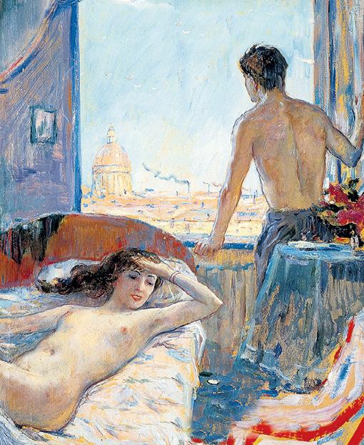 На многих полотнах художник изображал супругу Нину («Утро», 1956)
