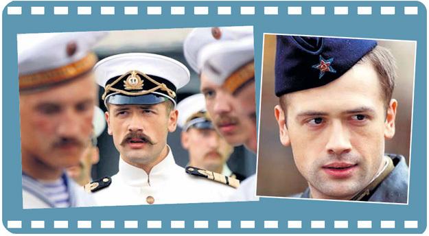 Больше этому подонку не позволят играть русских офицеров, как в своё время в картинах «Адмиралъ» (слева) и «Когда растаял снег» (справа)