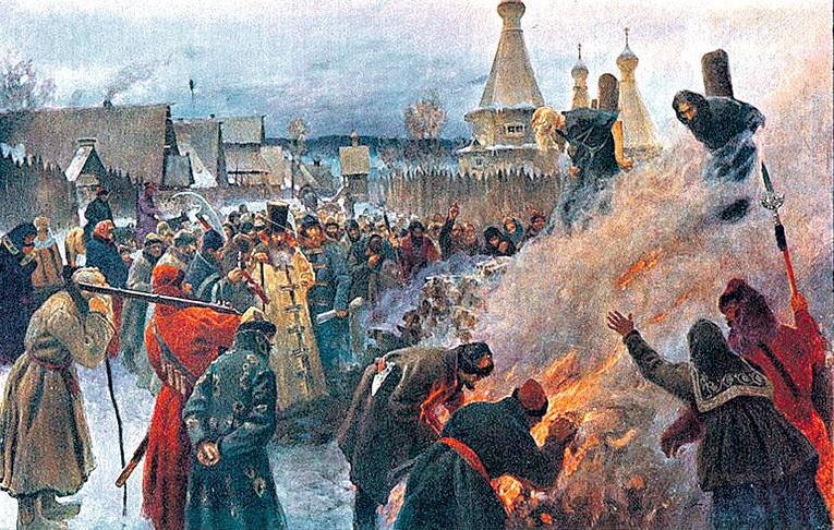 Глубокий раскол между властью и народом начался после сожжения протопопа АВВАКУМА, сторонника старых церковных традиций