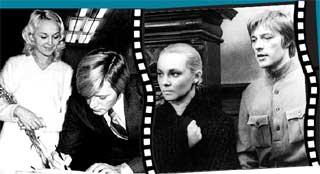 ЕВГЕНИЙ ЖАРИКОВ И НАТАЛЬЯ ГВОЗДИКОВА: киношный роман закончился настоящей свадьбой (справа - кадр из фильма «Рожденная революцией»)