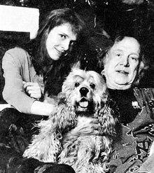 Маша с папой и кокер-спаниель Жан-Батистом Мольером (1990 г.)