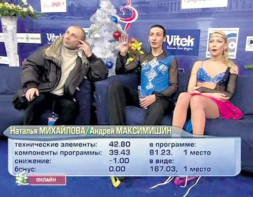 Андрей МАКСИМИШИН (в центре) до сих пор вспоминает, как во время тренировок ЖУЛИН (слева) постоянно разговаривал по мобильному телефону и вспоминал о паре только незадолго до начала соревнований