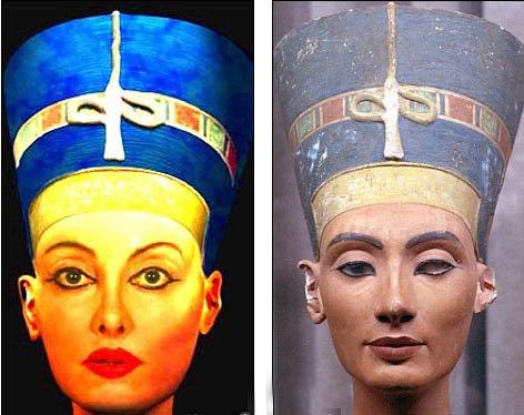 Слева - Нилен в образе Нефертити, справа - бюст египетской царицы. Фото: Daily Mail