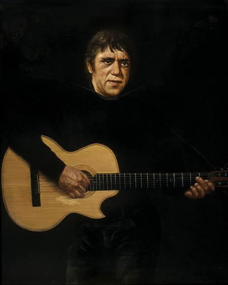 Тот самый портрет Высоцкого с удавкой на шее, для которого актер позировал Сергею Бочарову.