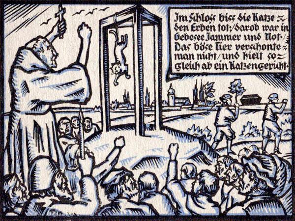 Средневековая гравюра «Казнь кошки» (Германия)