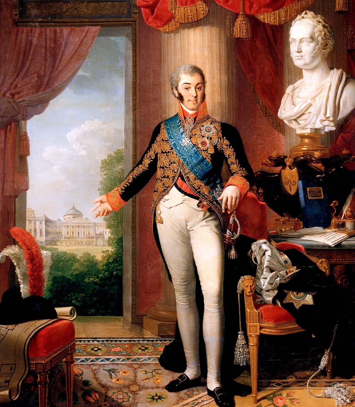 Больница увековечена на посмертном портрете ШЕРЕМЕТЕВА кисти Владимира Боровиковского (1819 год)